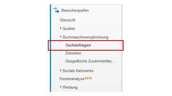 Google Analytics Suchanfragen
